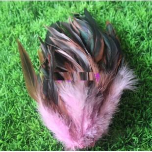 20 шт. Розовый цвет. Перо петуха 2-х цветное 12-18 см