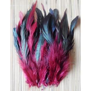 20 шт. Бордо цвет. Перо петуха  2-х цветное 12-18 см
