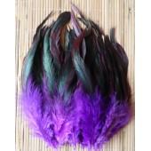20 шт. Фиолетовый цвет. Перо петуха 2-х цветное 12-18 см