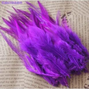 20 шт. Фиолетовый цвет. Перья петуха. Цветное 12-16 см
