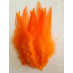 20 шт. Оранжевый цвет. Перья петуха. Цветное 12-16 см
