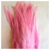 20 шт. Розовый цвет. Перья петуха. Цветное 12-16 см