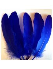 20 шт. Синий цвет. Перо Петуха 15-20 см
