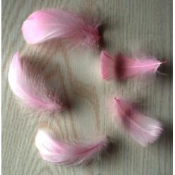 20 шт. Розовый цвет. Гусиное перо 4-6 см. Плавающее
