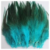 20 шт. Голубой цвет. Перья петуха 5-10 см. Цветные перья