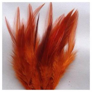20 шт. Темно-оранжевый цвет. Перья петуха 5-10 см. Цветные перья