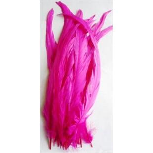 1 шт. Фуксия цвет. Перья петуха 20-30 см. Цветное