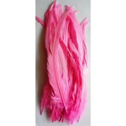 1 шт. Розовый цвет. Перья петуха 20-30 см. Цветное
