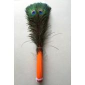 1 шт. Оранжевый цвет. Перо Павлин 90-100 см