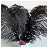 1 шт. Черный цвет. Перья страуса 25-30 см