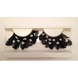 Ф-92. Черный цвет.  Ресницы из перьев птиц