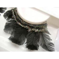 Ф-9. Черный цвет. Ресницы из перьев птицы