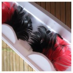 Ф-15. Черно-красный цвет. Ресницы из перьев птицы