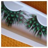 Ф-26. Горошек зеленый цвет. Ресницы из перьев птиц