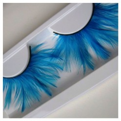 Ф-75. Голубой цвет. Ресницы из перьев птиц