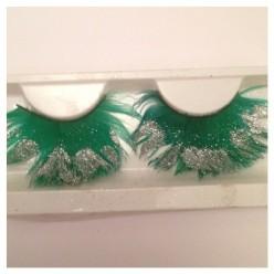 Ф-14. Зеленый цвет.  Ресницы из перьев птицы
