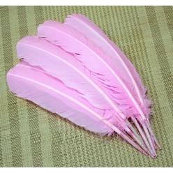 1 шт. Розовый цвет. Гусиное перо 25-30 см