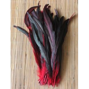 1 шт. Красный цвет. Перья петуха 20-30 см. 2-х цветное