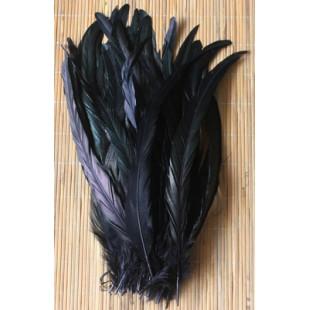 1 шт. Черный цвет. Перья петуха 20-30 см. 2-х цветное