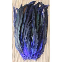 1 шт. Синий цвет. Перья петуха 20-30 см. 2-х цветное