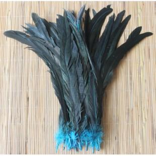 1 шт. Голубой цвет.  Перья петуха 20-30 см. 2-х цветное