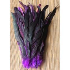 1 шт. Фиолетовый цвет. Перья петуха 20-30 см. 2-х цветное