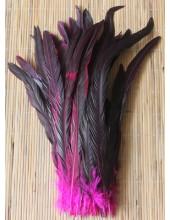 1 шт. Фуксия цвет. Перья петуха 20-30 см. 2-х цветное