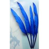 1 шт. Синий цвет.  Гусиное перо 30-40 см.