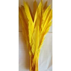 1 шт. Желтый цвет.  Перья петуха  30-40 см. Цветная