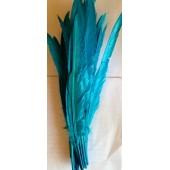 1 шт. Голубой цвет.  Перья петуха  30-40 см. Цветная