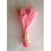 20 шт. Розовый  цвет. Перья петуха. Кисточка 12-17 см. Цветная