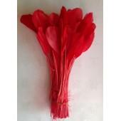 20 шт. Красный цвет. Перья петуха. Кисточка 12-17 см. Цветная