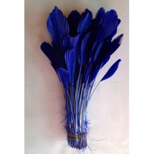 20 шт. Синий цвет. Перья петуха. Кисточка 12-17 см. Цветная