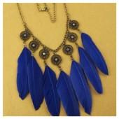 0941. Синий цвет. Подвеска с перьями птиц