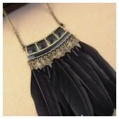 0906. Черный цвет. Подвеска из перьев птиц