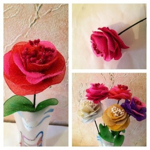 Роза из цветного капрона