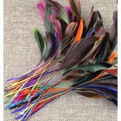 20 шт. Микс цвет. Перья петуха. Кисточка 10-20 см. 2-х цветная