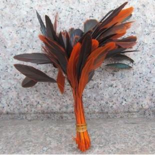 20 шт. Оранжевый цвет. Перо петуха. Кисточка 10-20 см. 2-х цветное