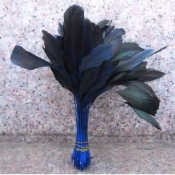 20 шт. Синий цвет. Перо петуха. Кисточка 10-20 см. 2-х цветное