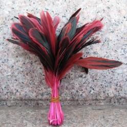 20 шт. Розовый цвет. Перо петуха. Кисточка 10-20 см. 2-х цветное