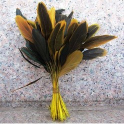 20 шт. Желтый цвет. Перо петуха. Кисточка 10-20 см. 2-х цветное