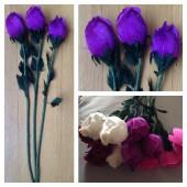 1 шт. Фиолетовый цвет. Розы из перьев птиц! Цветы из перьев птиц