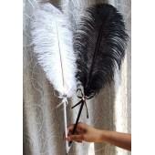 А-1. Белый цвет. Ручка из пера страуса