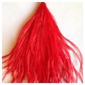 20 шт. Красный цвет. Перо страуса шелк 10-15 см