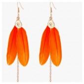 120. Оранжевый цвет. Серьги из перьев птиц
