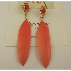 108. Оранжевый цвет. Серьги из перьев птиц