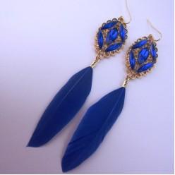 01. Синий цвет. Серьги из перьев страуса.