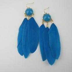 30. Голубой цвет. Серьги из перьев птиц