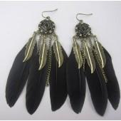 134. Черный цвет. Серьги из перьев птиц