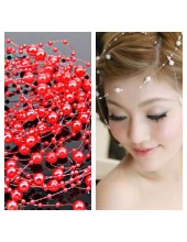 Красный цвет. Нить жемчужинка   для волос